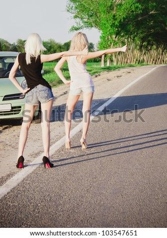 Sexy Hitch Hiking Blonde Slammed In Car