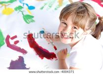 Cute Young Girl Painting A Picture Stock Photo 4004371