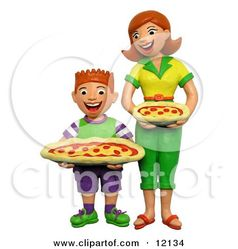 Clipart 3d Mom And Son Holding Pepperoni Pizzas - Royalty Free 3d