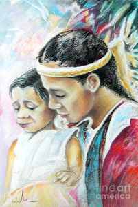 Young Polynesian Mama with Child Painting - Young Polynesian Mama with