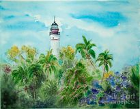 Tropical Lighthouse Painting by Melanie Palmer  Tropical Lighthouse
