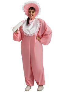This adult baby girl plus size costume includes a jumpsuit, bonnet and