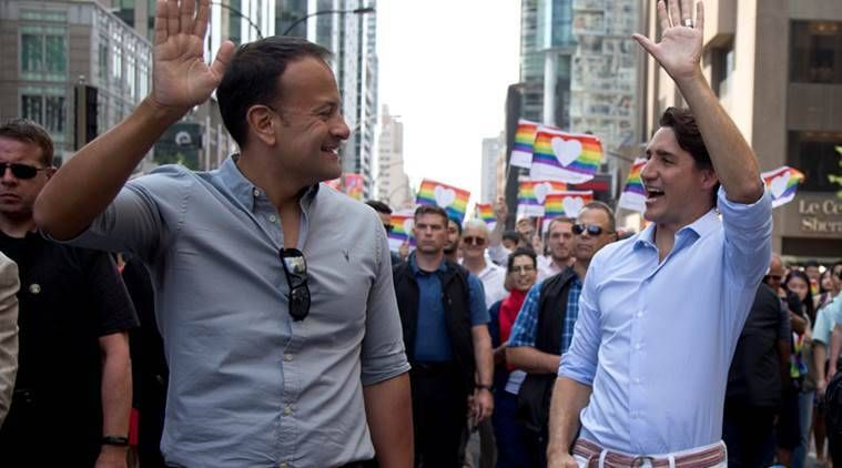 Justin Trudeau joined at Montreal Pride by Irish counterpart Taoiseach Leo Varadkar