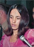 Susan Atkins, a key witness in the Sharon Tate murder trial is seen