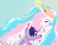 Image  Princess Celestia protecting Twilight.png  My Little Pony Fan