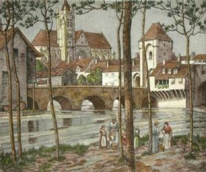 Challeroy, France (Restrike Etching) by Anonymous Art Print