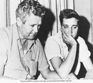 Elvis comfort each other at Graceland after Gladys' funeral  - elvis