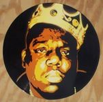 Original painting of Notorious B.I.G Biggie Smalls on vinyl record