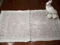 Fine Embroidered Linen Table Runner, White on White