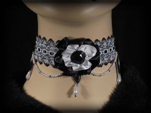 Poisoned Porcelain Pearl Beaded Black and White Lolita by Hexotica