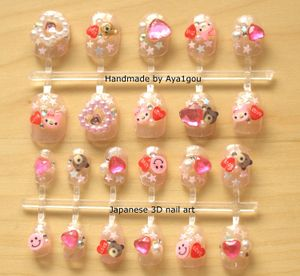 Japanese 3D nails, himegyaru pink kawaii lolita set, ready to ship