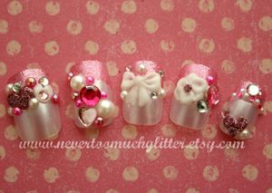Japanese 3D Nail Art Lovely Lolita by Nevertoomuchglitter on Etsy