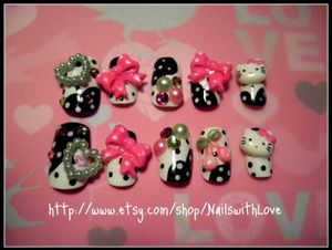 Japanese 3D Press on Nail Art - Lolita Ribbons Cherries and Hello