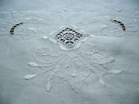 Fine Vintage White Linen Tablecloth 79 by 60 by TheWindmiller