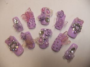 3D deco nails full false/fake Japanese 3D nail sweet lolita kawaii