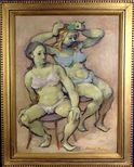 Rare Semi Nude Young Ladies Expressionist Listed Artist Oil Painting w