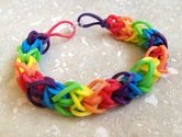 Items similar to Rainbow Rubber Band Bracelet (Six Color Diamond