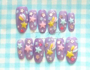 Kawaii 3D nails fairy kei lilac sweet lolita japanese by Aya1gou
