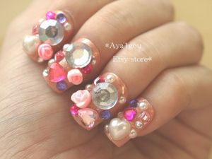 3D nails, rave, race, halloween, Japanese, nail art, lolita, blingy