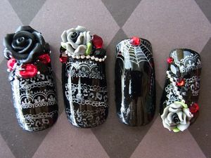 Japanese 3D Nail Art Goth Lolita Deluxe by Nevertoomuchglitter