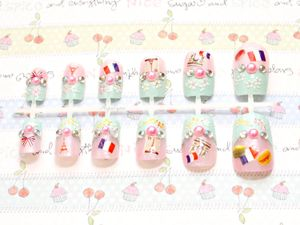 , fairy kei, sweet lolita, Japanese 3D nails, Paris, French, pastel
