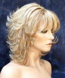 Flip Wavy Gelled Wet Look Chic and Sassy Center Part Blonde Mix Wig