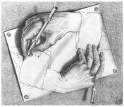Drawing hands, Echer