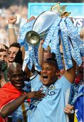 Manchester City's Belgian Captain Vincent Kompany Lifts The Premier