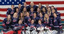 The U S  Olympic Women's Ice Hockey Team is 21 against prep varsity