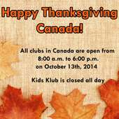 Thanksgiving Day Hours For LA Fitness And Kids Klub In 2014 – CANADA