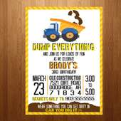 5x7 Construction Boy Birthday Party Invitation.  | J & C's Birthday