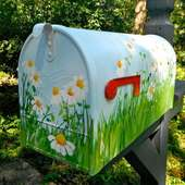 Extra Large Hand Painted Mailbox With Daisies On A Blue Background