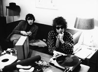 Bob Dylan and Richard Manuel (left). | Celebrities And Their Vinyl