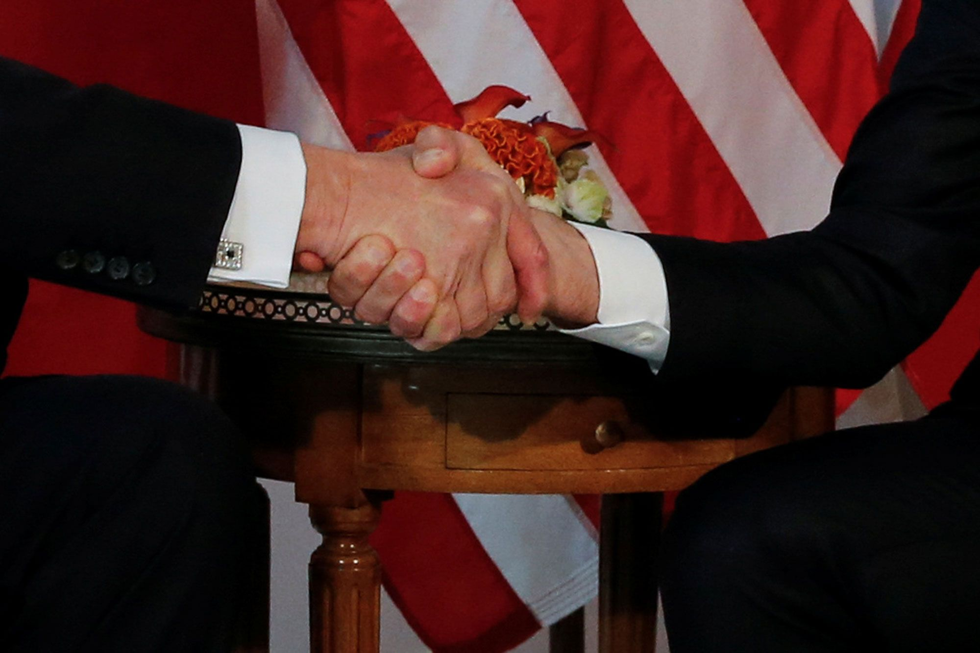 Shaking hands with President Trump