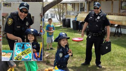 Real Police Officer Drops By Girl's Cop-Themed Birthday Party: 'Evie's Face Lit Right Up'