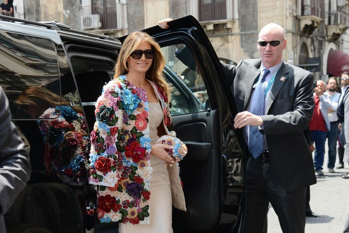 Melania Trump wore a chill $51,500 jacket to meet G7 spouses