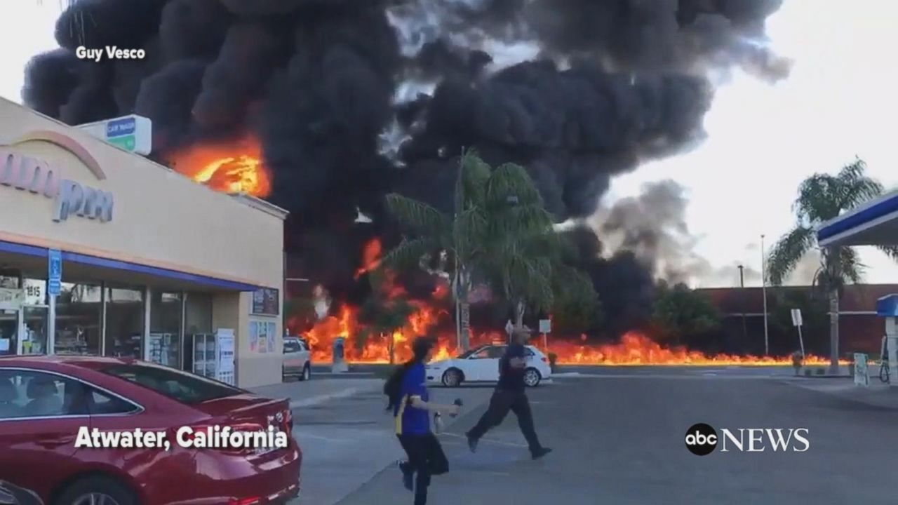 Overturned tanker causes massive fire in California