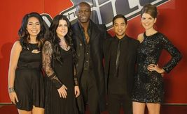 The Voice coach Seal with his final four singers  Stuart Bryce