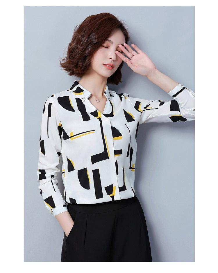 Moon Sunday 2019 Womens Geometric Print V Neck Long Sleeve Casual Fashion Summer Chiffon T shirt TopBlouse T Shirt Women Shirt for HolidayBeach Free Shipping China Spring Festival Lucky
