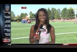 """Josina """"JoJo"""" Anderson at Bronco's Training Camp for live SportsCenter"""