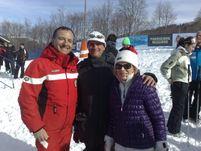 fra l'Onorevole Franco Frattini e la campionessa di sci Celina Seghi