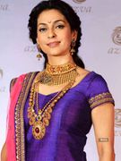 Juhi Chawla looks refreshing in a blue, green and pink lehenga