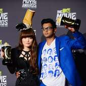 Hana Mae Lee And Utkarsh Ambudkar Pose With Their Awards During The
