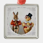 Singing Chicken and HornBlowing Bunny Christmas Tree Ornament at