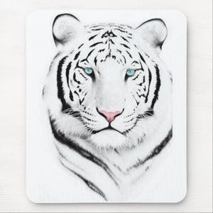 Siberian White Tiger Mouse Mats | Zazzle co uk