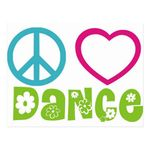 Peace Love Dance Postcards from Zazzle com