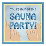 Sauna Party Funny Feet Cute Invitation from Zazzle.com