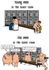 Young men in the locker room VS old men in the locker room  The