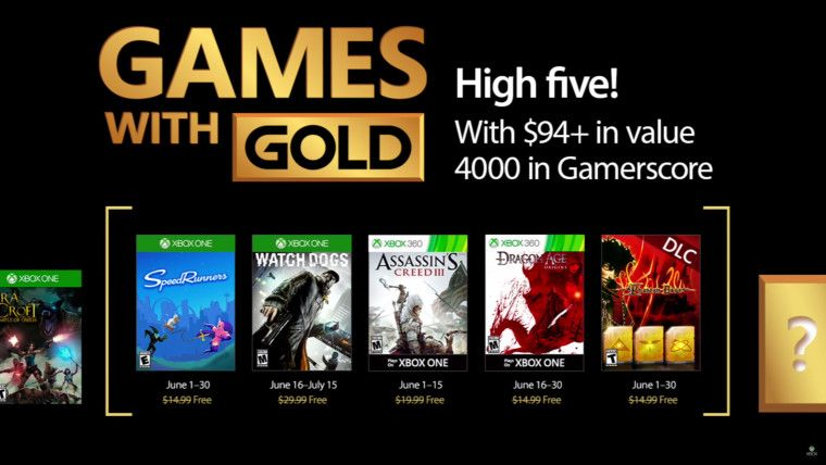 Xbox Games with Gold for June 2017 include Watch_Dogs, Assassin's Creed III, and more