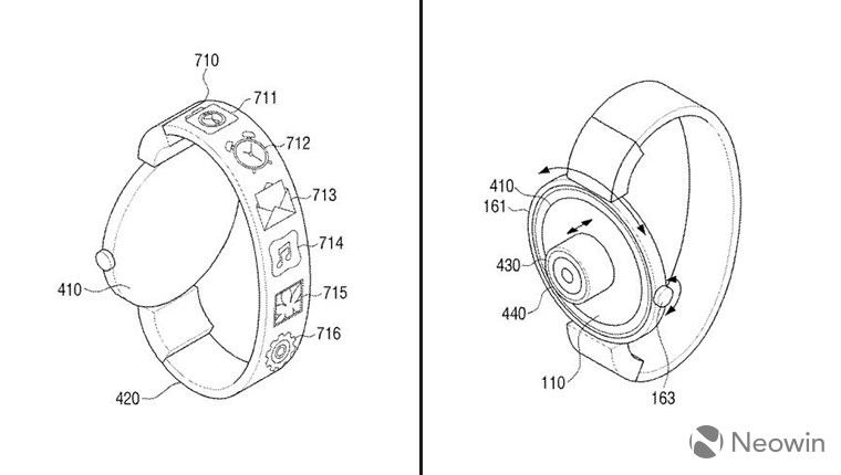 Samsung files patent for a smartwatch with a wristband display and strange camera